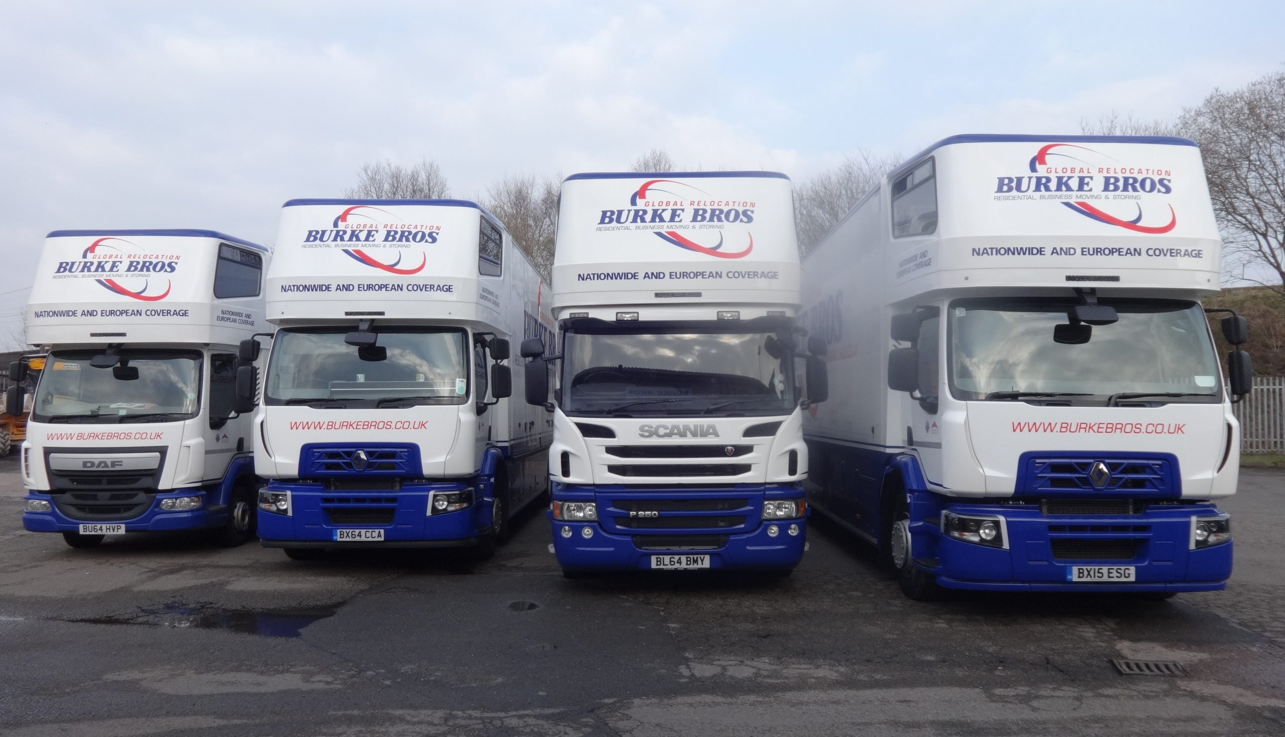 Four removal vans