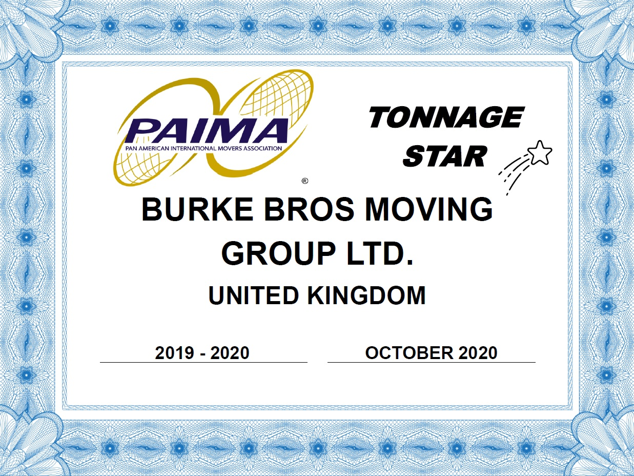 PAIMA Tonnage Star Certificate for International Moving