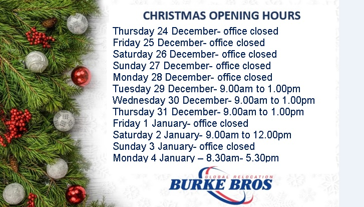 Opening hours during the festive period