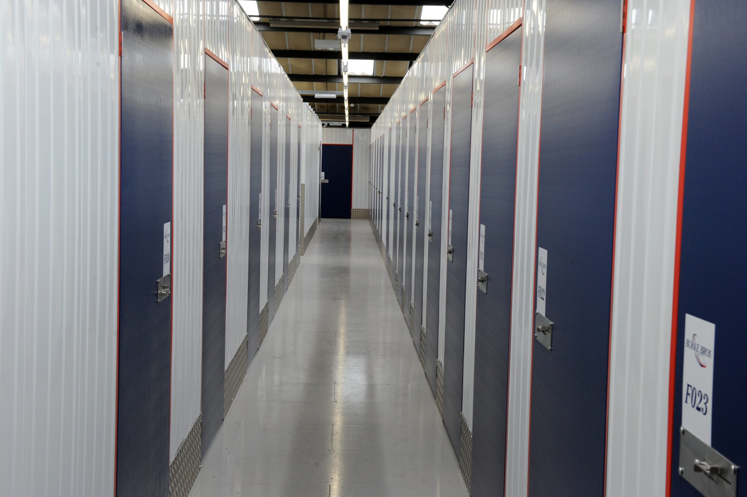 Corridor of doors in a self storage facility