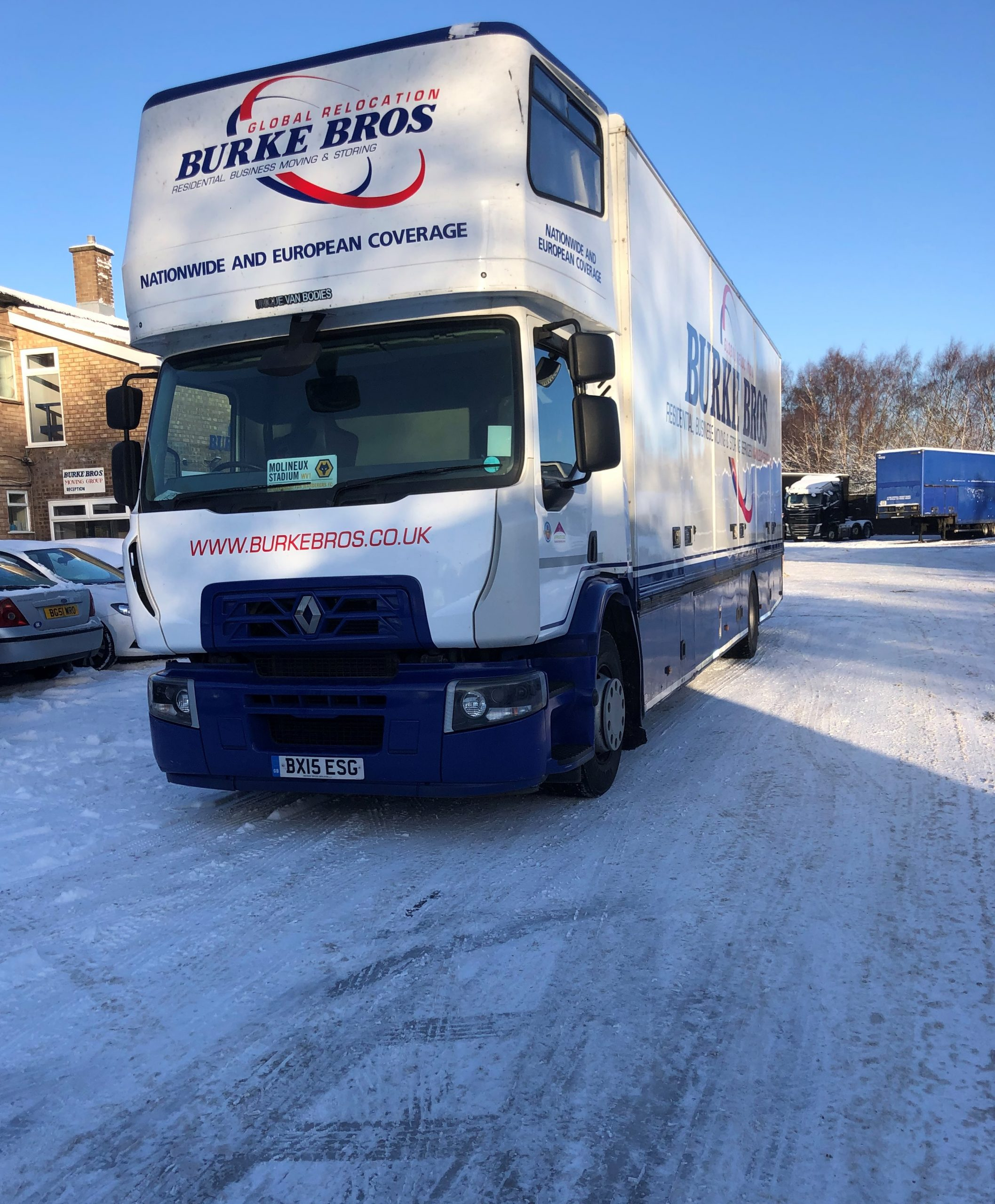 Removals van in snow ready to leave for France.