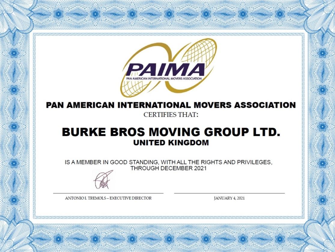 PAIMA membership certificate