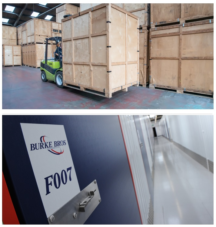A storage container being moved on a forklift and self access storage rooms