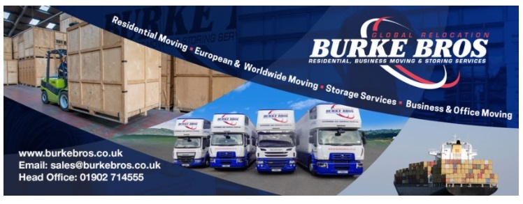 Newsletter header with images of four vans, a shipping vessel and forklift